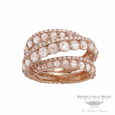 Designs by Naira 18k Rose Gold White diamond  Rose Cut Diamonds Ring 2BGP11942DD W48ET5 - Beverly Hills Jewelry Store