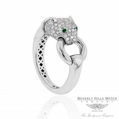 Naira & C 18K White Gold Diamond Panther Head CCMI0281/13/ring-W ZX0NVT - Beverly Hills Jewelry Store