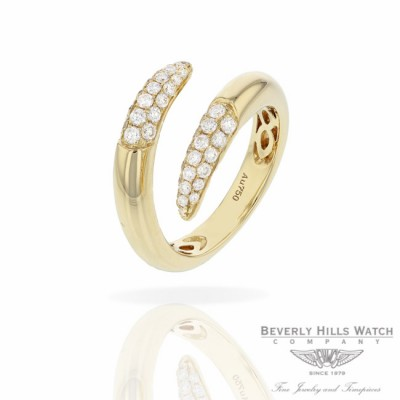 Naira & C 18k Yellow Gold Crossover Diamonds Ring RD-R256-3286/R 77UY0F - Beverly Hills Jewelry Store