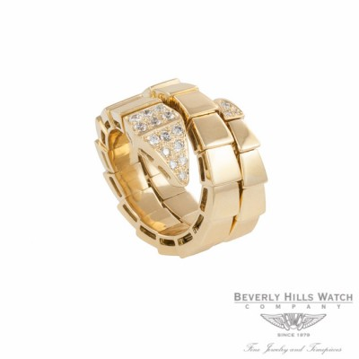 Ring 18k Yellow Gold Double Wrap Snake Diamond Head 5NZEPY - Beverly Hills Watch Company Watch Store