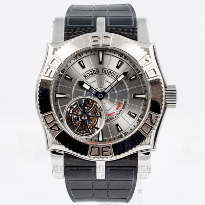 Roger Dubuis Easy Diver Stainless Steel Tourbillon Manual Wind Rubber Strap Deployment Buckle Watch SE48029-03-53-8013 Beverly Hills Watch Company Watch Store
