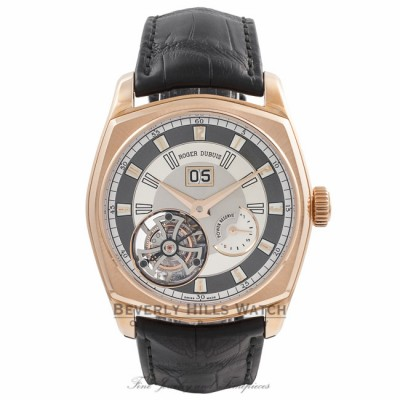 Roger Dubuis La Monegasque Flying Tourbillon Large Date 18k Rose Gold Grey Dial RDDBMG0010 VMAF1T - Beverly Hills Watch Company Watch Store