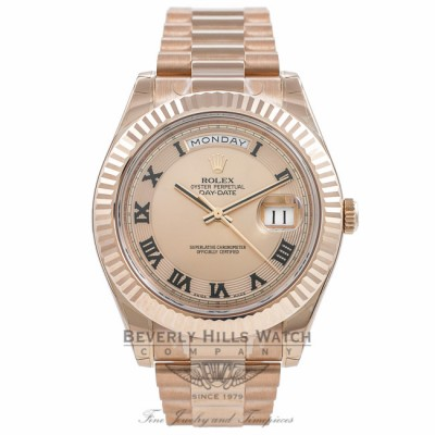 c9ea3d42ee2 Rolex Day Date II 41mm Rose Gold President Pink Champagne Concentric Dial  Fluted Bezel Watch 218235