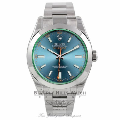 Rolex Milgauss 40mm Green Crystal Stainless Steel Blue Dial 116400GV HYEVM7 - Beverly Hills Watch Company