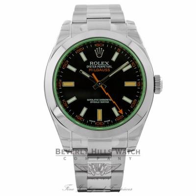Rolex Milgauss 40mm Green Crystal Stainless Steel Black Dial Watch 116400 R5KCRK - Beverly Hills Watch Company
