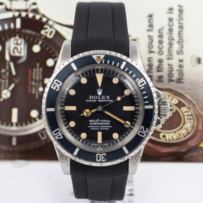 Rubber B Black Rubber Strap for Rolex Submariner 5512  M106-BK with a Tang Buckle Beverly Hills Watch Company Watch Store