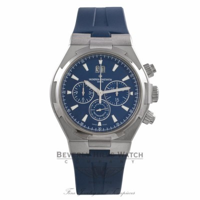 Vacheron Constantin Overseas 42MM Stainless Steel Blue Dial Blue Rubber Strap 49150/000A-9745 NEWA8C - Beverly Hills Watch Company Watch Store