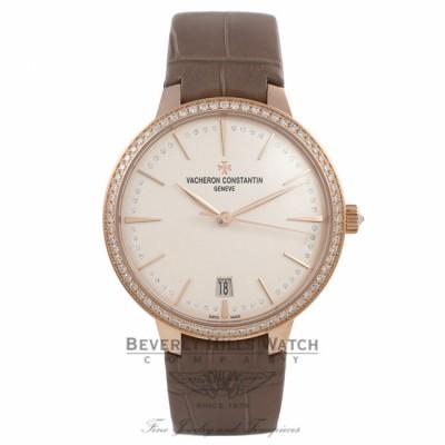 Vacheron Constantin Patrimony 36MM 18k Rose Gold Diamond Bezel Silver Diamond Dial X85R8877 562PNP - Beverly Hills Watch Company Watch Store
