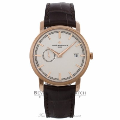 Vacheron Constantin Patrimony Traditionnelle 18k Rose Gold 38MM Silver Dial Alligator Strap 87172/000R-9302-0001 RKXFQN - Beverly Hills Watch Company Watch Store