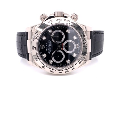 Rolex Daytona White Gold Black Diamond Dial 116519 WWRACD - Beverly Hills Watch Company