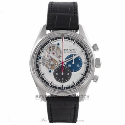 Zenith El Primero Chronomaster 1969 42MM Stainless Steel Silver Dial Black Alligator Strap 0320404061.69C A934LQ - Beverly Hills Watch Store