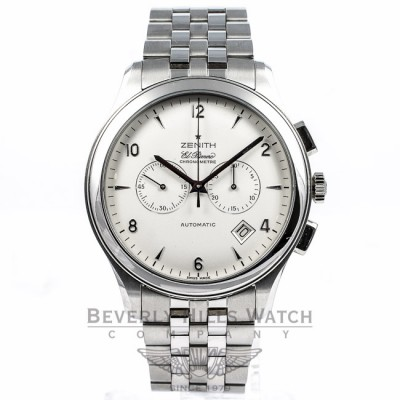 Zenith Elite EL Primero Chronograph Stainless Steel Watch 03.0520.4002 Beverly Hills Watch Company