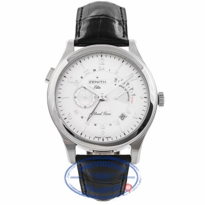 Zenith Grand Class Elite Dual Time 44MM Stainless Steel Silver Dial 03.0520.683/01.c492 6KXTNQ - Beverly Hills Watch Company Watch Store