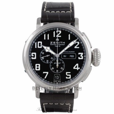Zenith Pilot Montre d'Aeronef Type 20 Annual Calendar 48MM Stainless Steel Chronograph Black Dial Dark Brown Alligator Strap 03.2430.4054-21.C721 8RD76P - Beverly Hills Watch Store