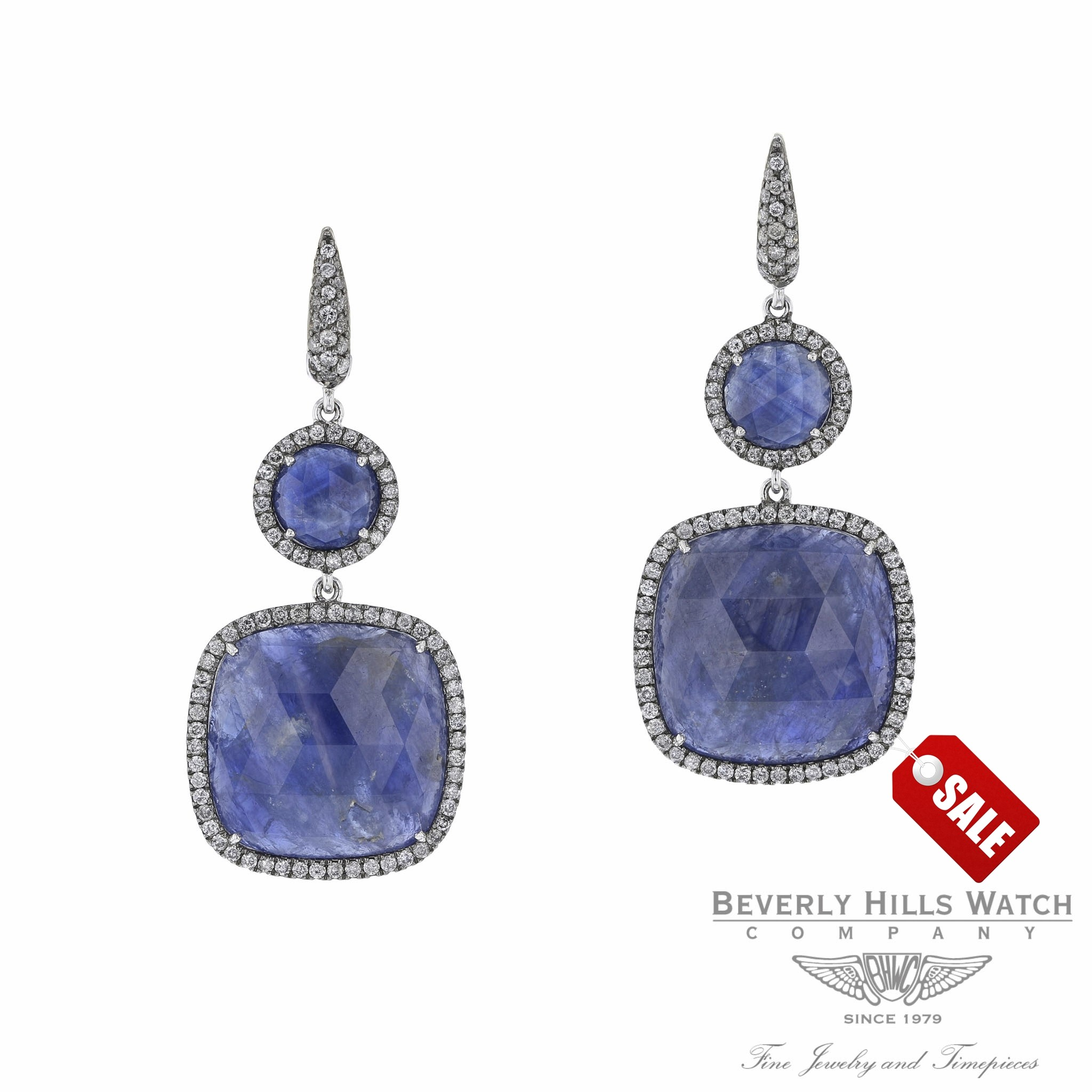 Blue Matrix Sapphire Diamond Drop Earrings HSNZ2N - Beverly Hills Watch