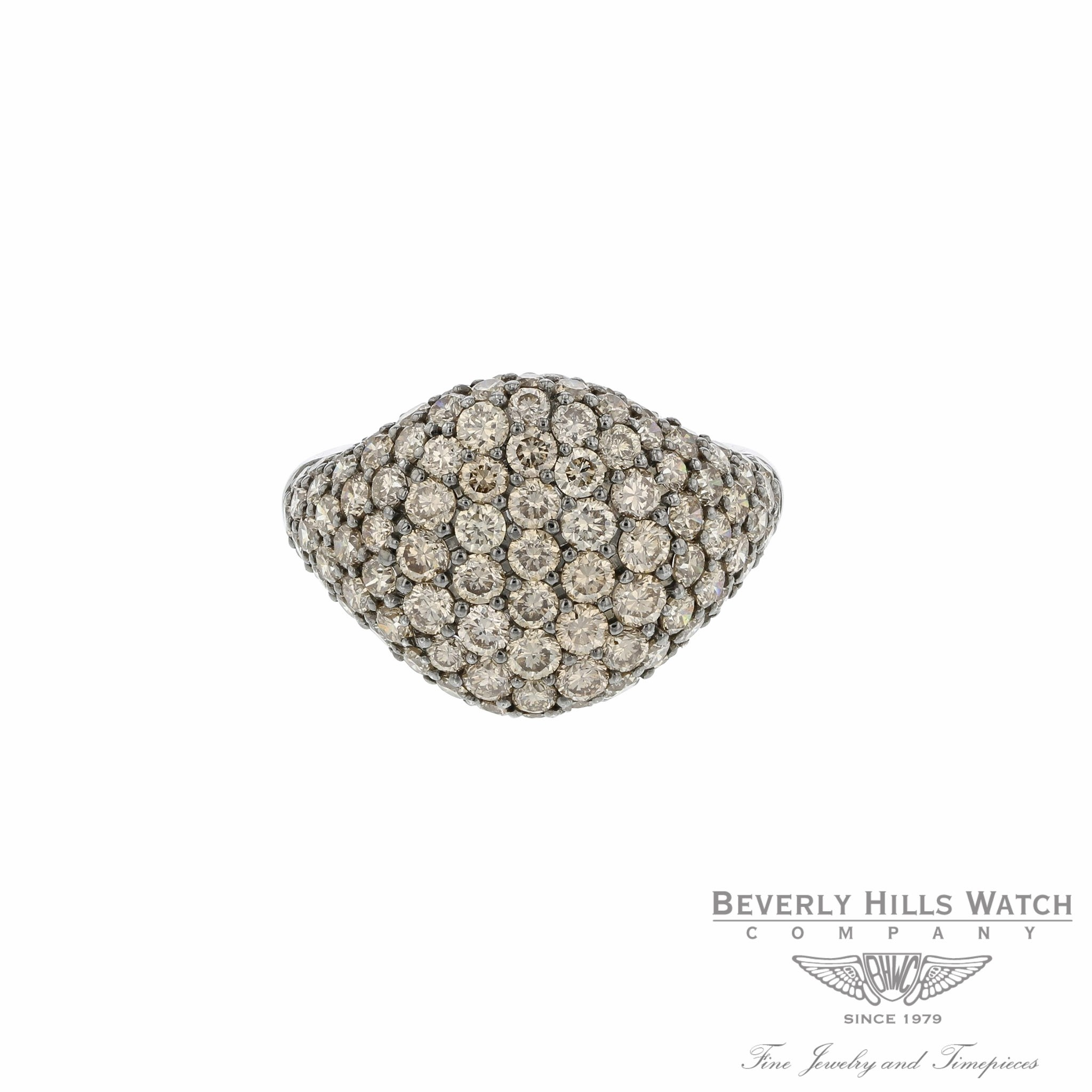 Pave Pinky Chocolate Diamond White Gold Ring by Naira & C FGHBWH - Beverly Hills Watch