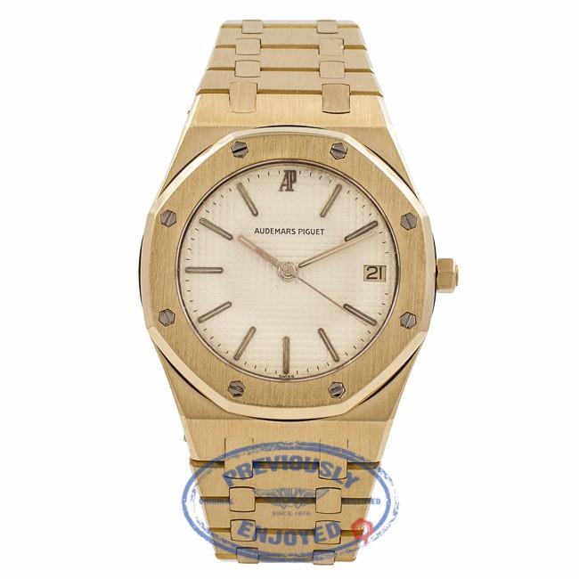 Audemars Piguet Royal Oak Yellow Gold White Dial 36MM APRO36MMYGQTZ ITC4PF - Beverly Hills Watch Company Watch Store