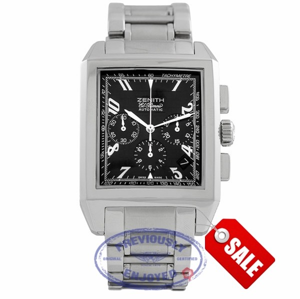 Zenith El Primero Grande Port Royal Rectangle Chronograph Stainless Steel Black Dial 03.0550.400/22.M550 BC3T6G - Beverly Hills Watch Store Watch Store