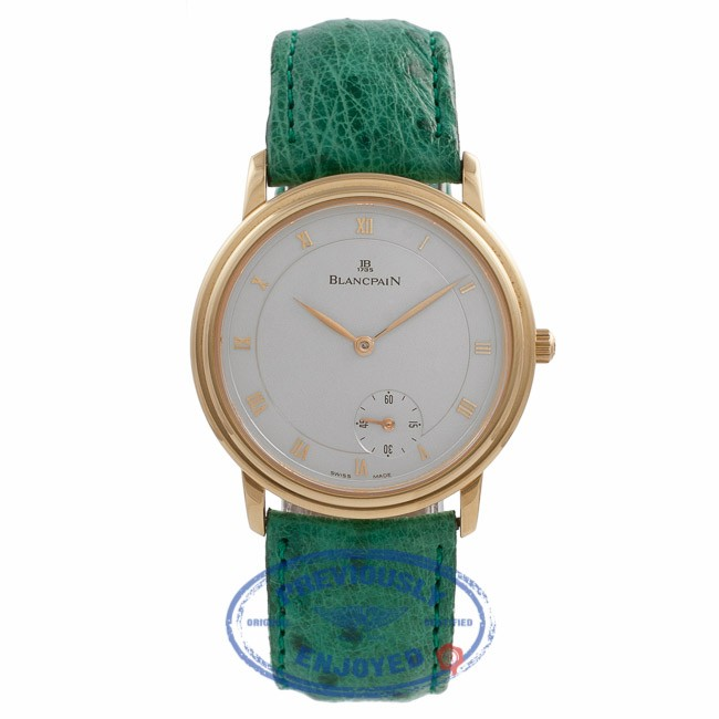 Blancpain Villeret Rose Gold Silver Dial Green Leather Strap 072.3318 XQE2XG - Beverly Hills Watch Store