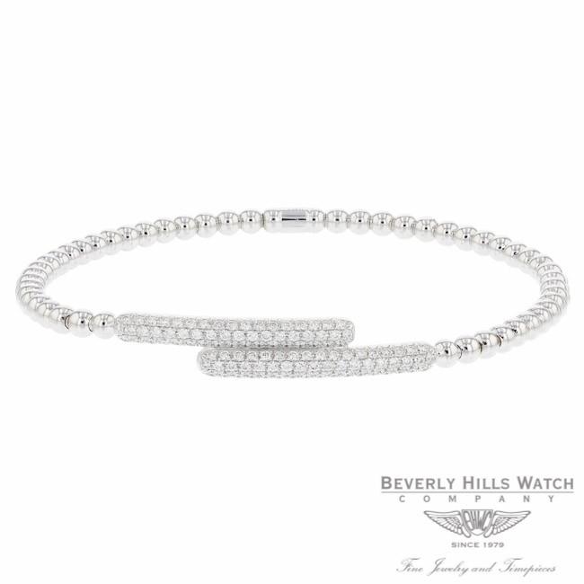 Naira & C 18k White Gold stretch Cross Over Diamond Bracelet OM-PLI026/300/B P20981 - Beverly Hills Jewelry Company