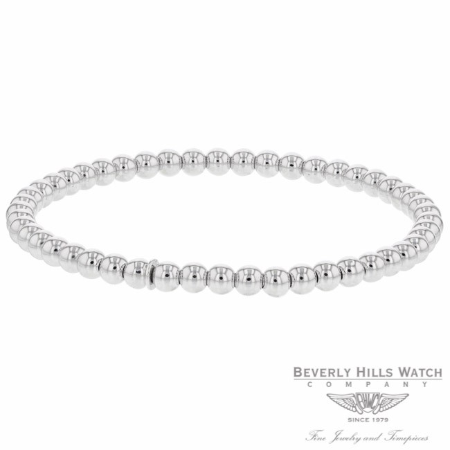 Naira & C 18k White Gold Stretch Plain Bracelet OM-CS0970/04EL/B F9XJ9K - Beverly Hills Jewelry Company