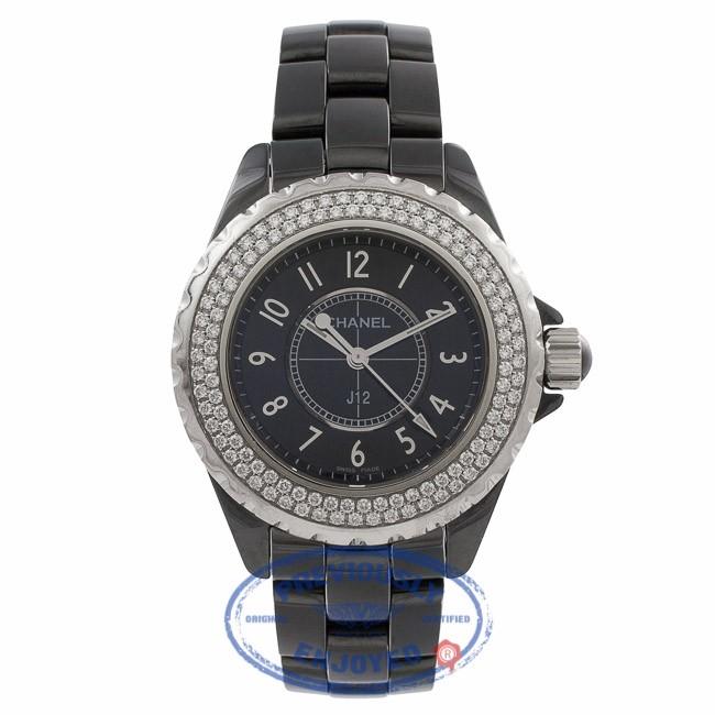 Chanel J12 Black Ceramic Diamond Bezel Black Dial H0949