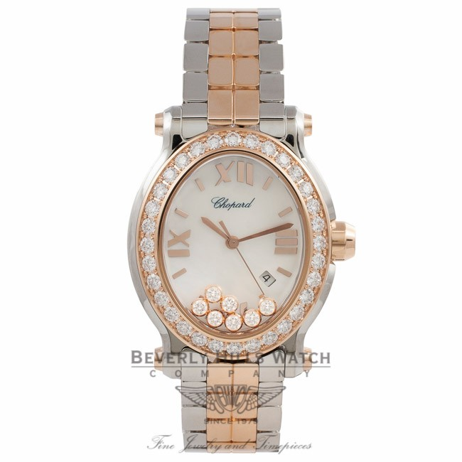Chopard Happy Sport Oval Medium 18k Rose Gold Diamond Bezel 7 Floating Diamonds White Mother of Pearl Dial 27/8546-6004 TWPV7Q - Beverly Hills Watch Company Watch Store