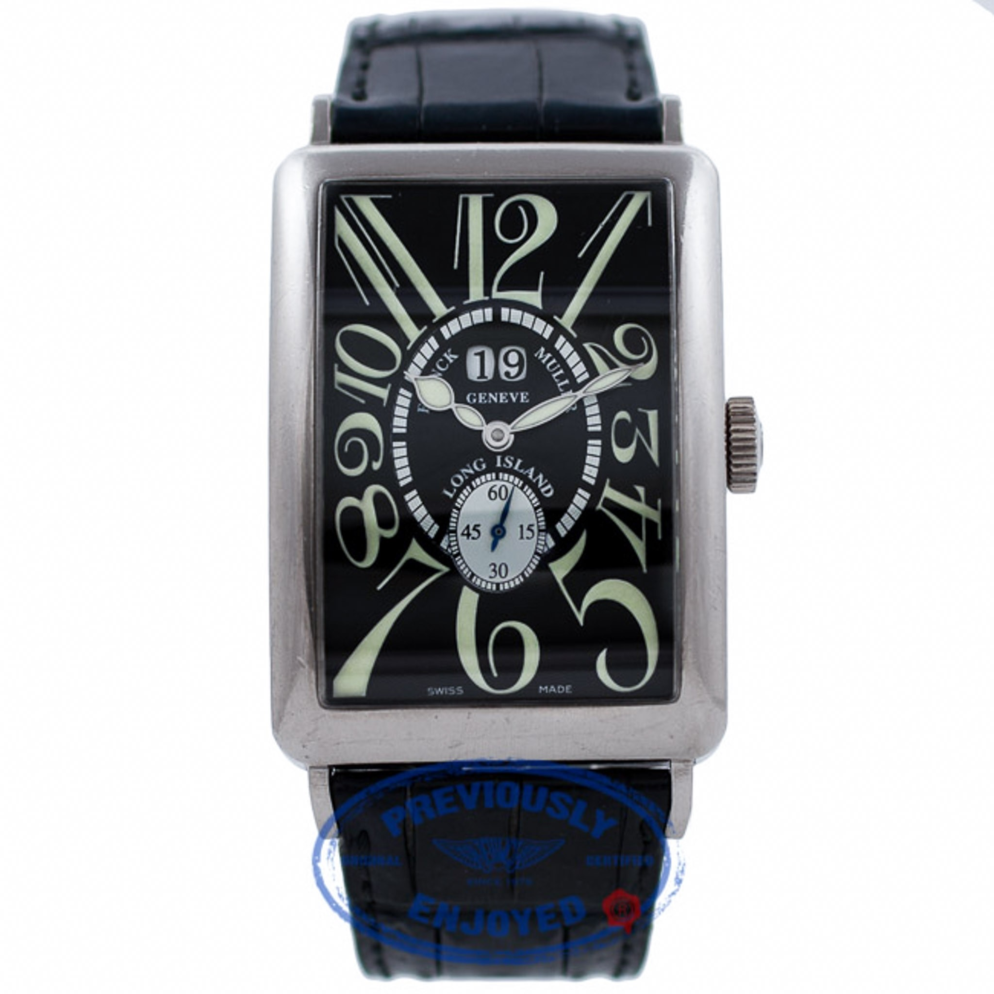 Franck Muller Long Island Grand Date 18k White Gold Black Dial 1200 S6 GG CZVKUN - Beverly Hills Watch Company Watch Store
