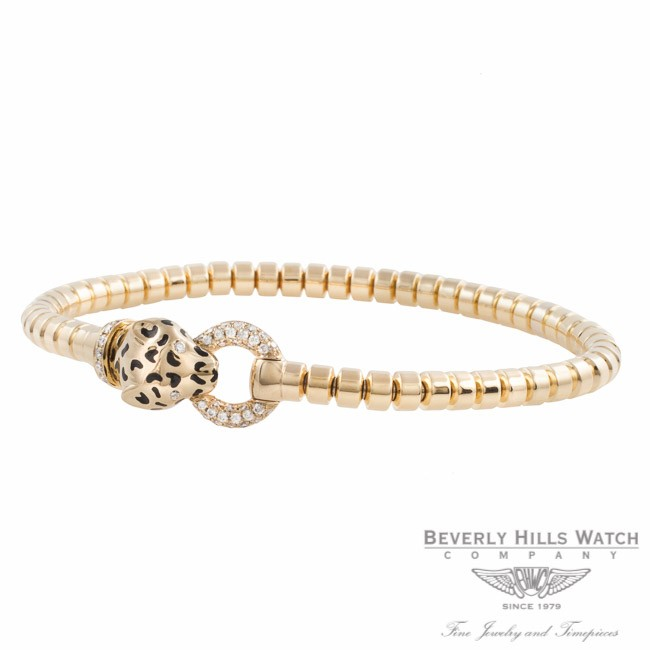 Naira & C 18k Yellow Gold Enamel and Diamonds Panther Bracelet OM-CCMI0265/400/E/B-Y FZQRJ9 - Beverly Hills Watch Company Jewelry