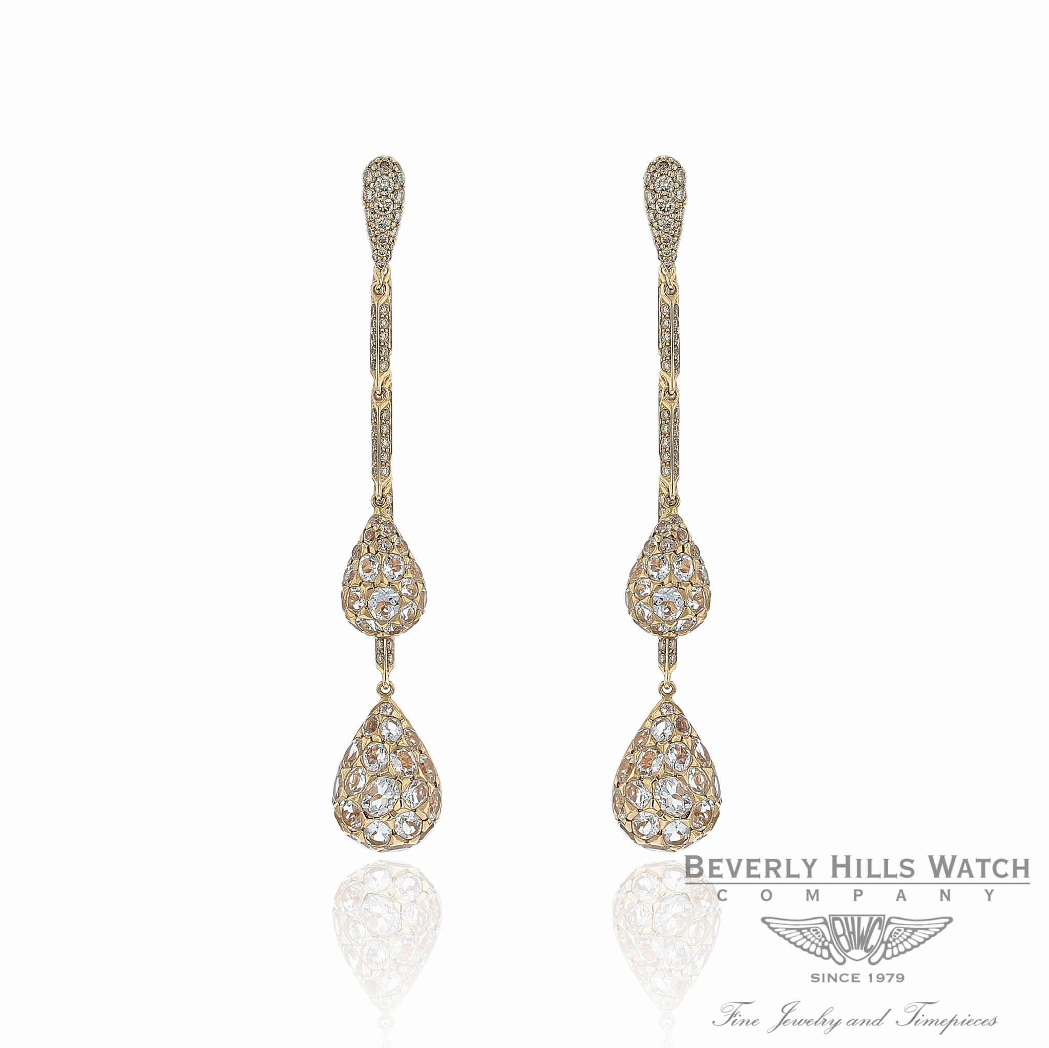 Naira & C Rose Gold with Staggered Diamond and Green Quartz Drop Earrings RV7VRN - Beverly Hills Watch