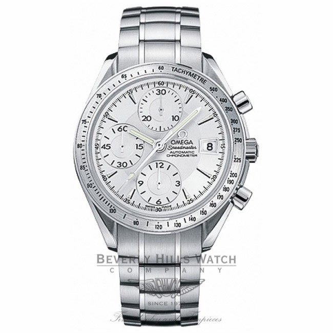 Omega Speedmaster Date Stainless Steel Bracelet 40mm Case Silver Dial Automatic Chronograph Watch 3221.30.00 Beverly Hills Watch Company Watch Store