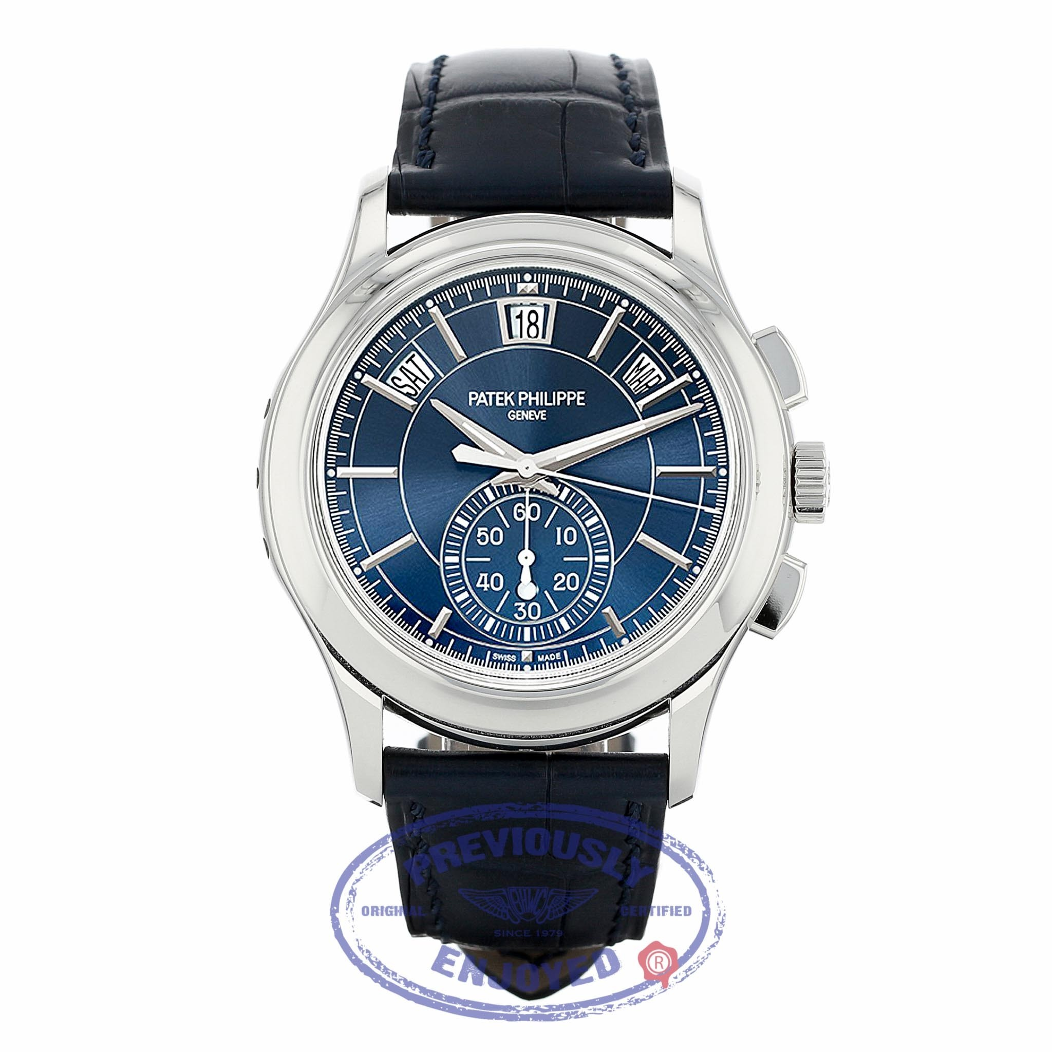 Patek Philippe Annual Chronograph Platinum Case Blue Dial 42mm 5905P-001 41K56Y - Beverly Hills Watch