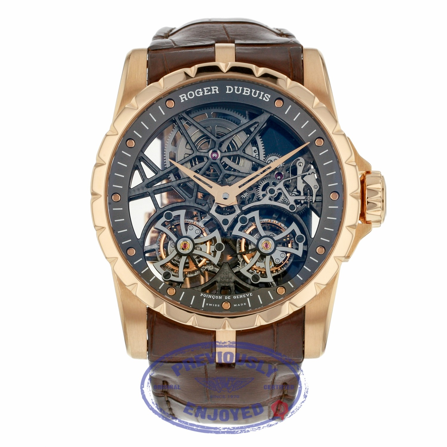 Roger Dubuis Double Tourbillon Rose Gold Skeleton Hand Wound Mechanical DBEX0395 P0VCY6 - Beverly Hills Watch