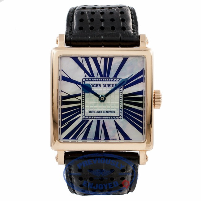 Roger Dubuis Gold Square 18k Rose Gold White Mother of Pearl G37 14 5GN1.7A EY158Q - Beverly Hills Watch Company Watch Store
