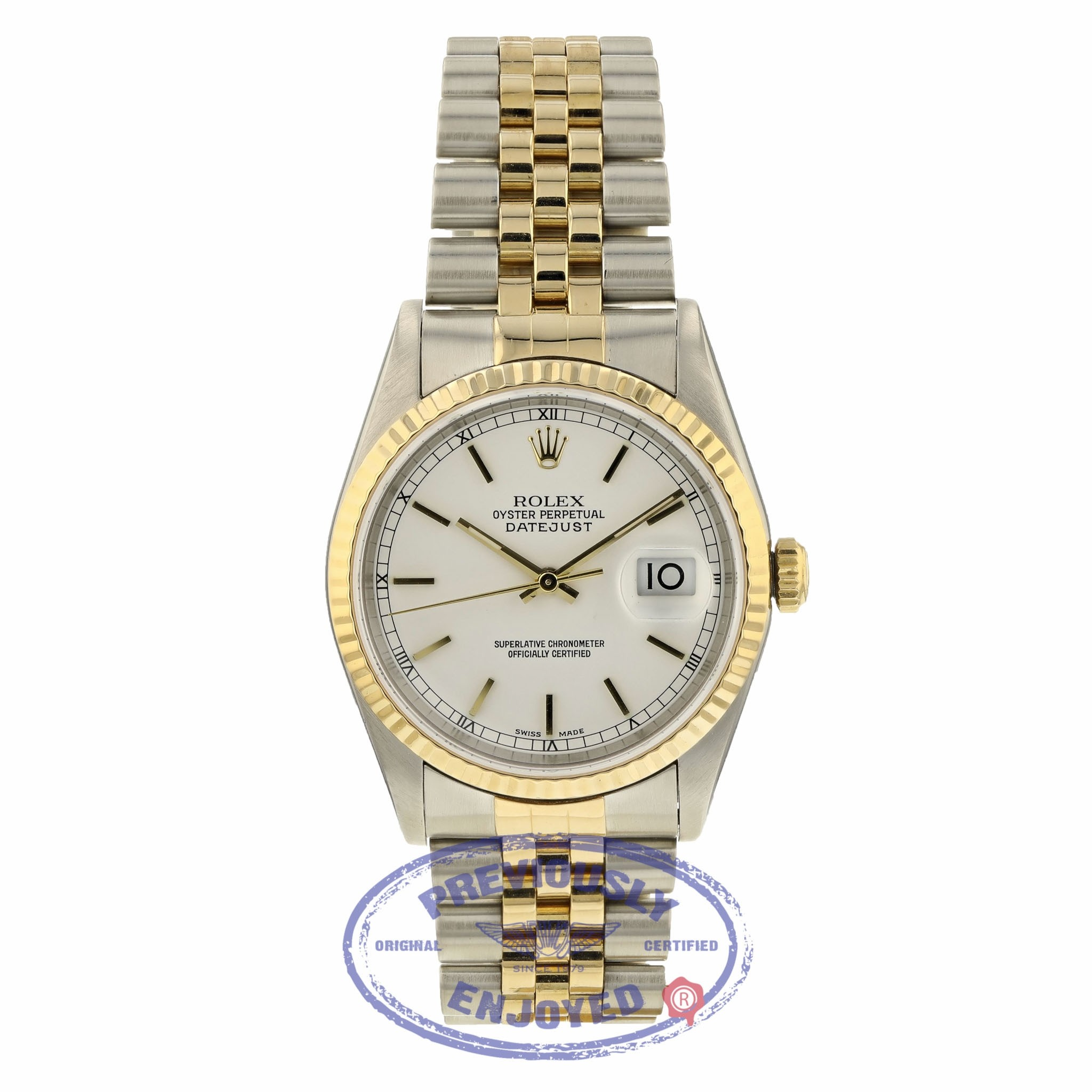 Rolex Datejust 36MM 18k Yellow Gold Stainless Steel Fluted Bezel White Dial Index Markers 16233 1EJPR9 - Beverly Hills Watch Company