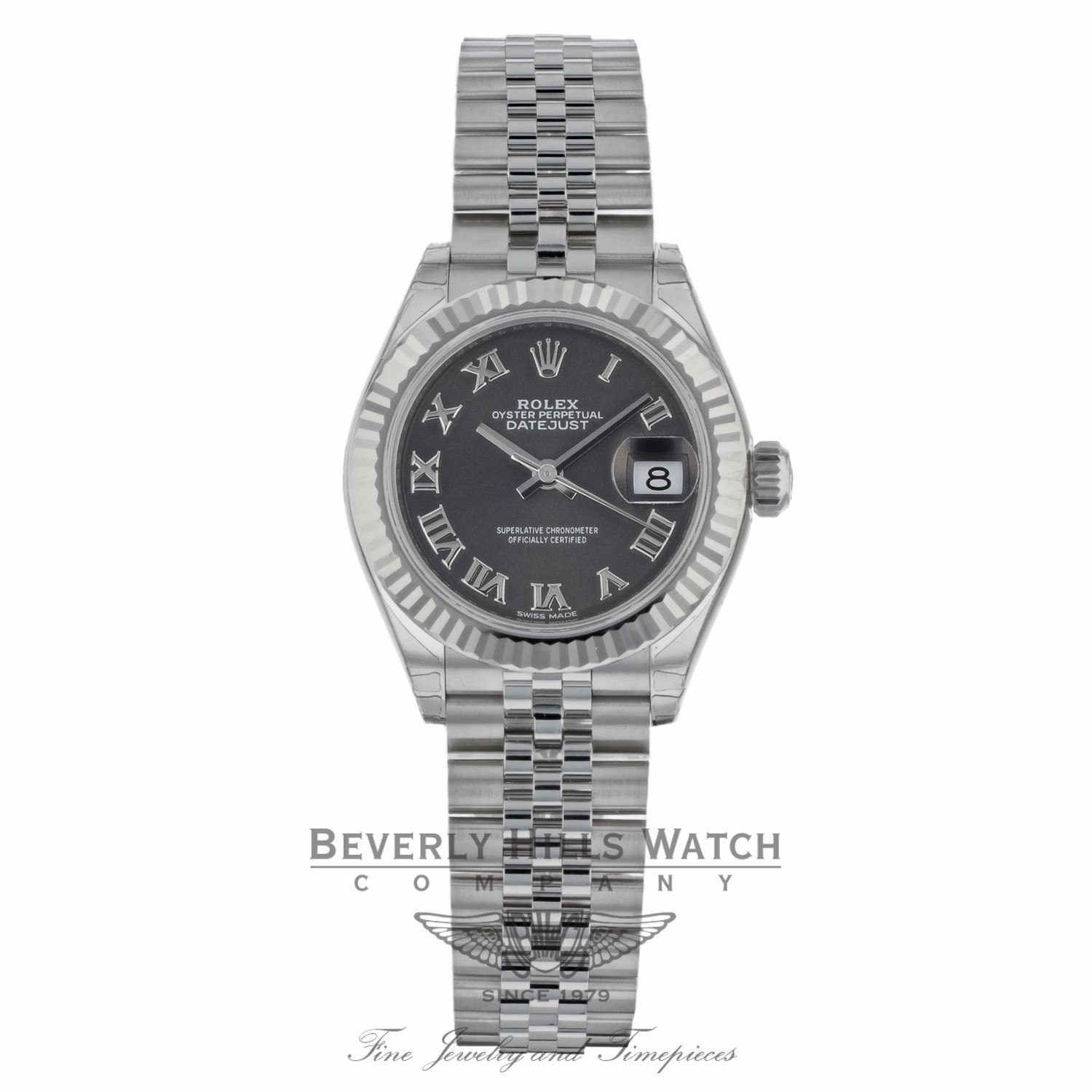 Rolex Lady Datejust 28mm Rhodium Dial Stainless Steel and 18K White Gold 279174 0UJ778 - Beverly Hills Watch
