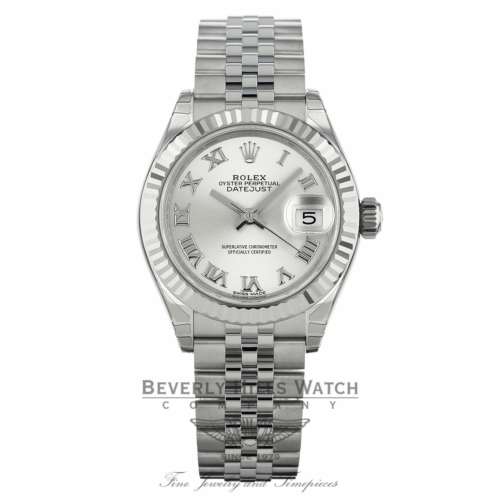 Rolex Lady Datejust 28mm Silver Dial Stainless Steel and 18K White Gold 279174 U1CHZF - Beverly Hills Watch
