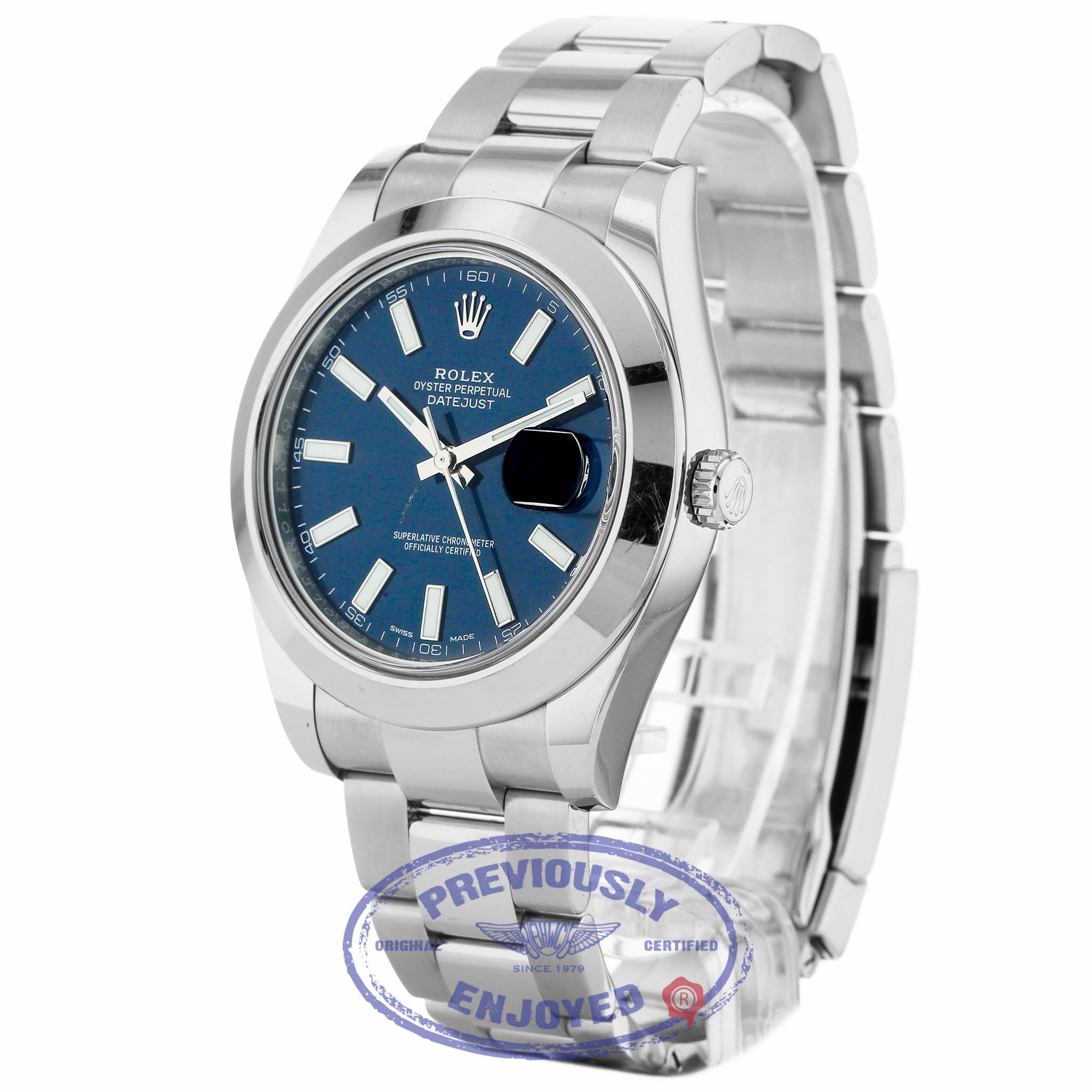 4e82606a799 Rolex Datejust II Stainless Steel 41mm Smooth Bezel Oyster Bracelet Blue  Stick Dial 116300 7483ZW - Beverly ...