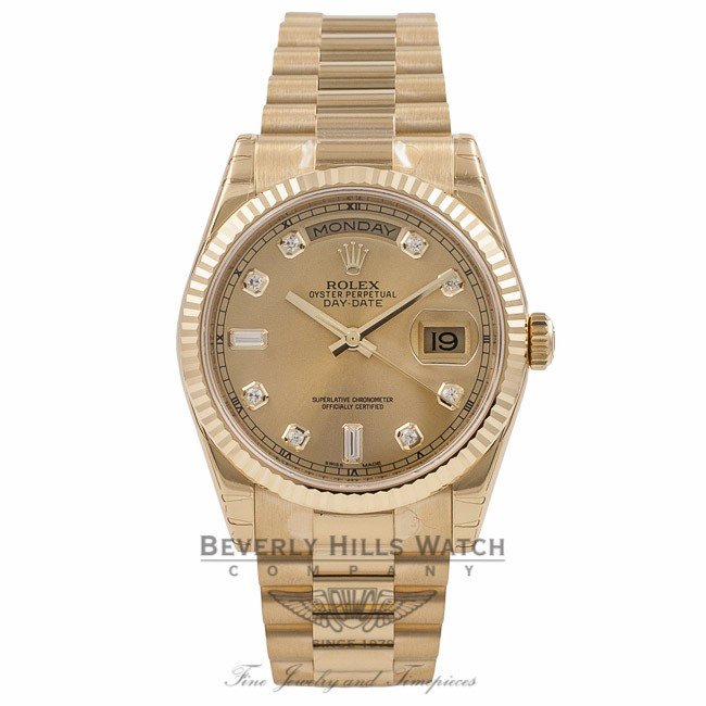 f52767ca4d9 Rolex 36mm Day-Date President Yellow Gold Fluted Bezel Champagne Diamond  Dial 118238