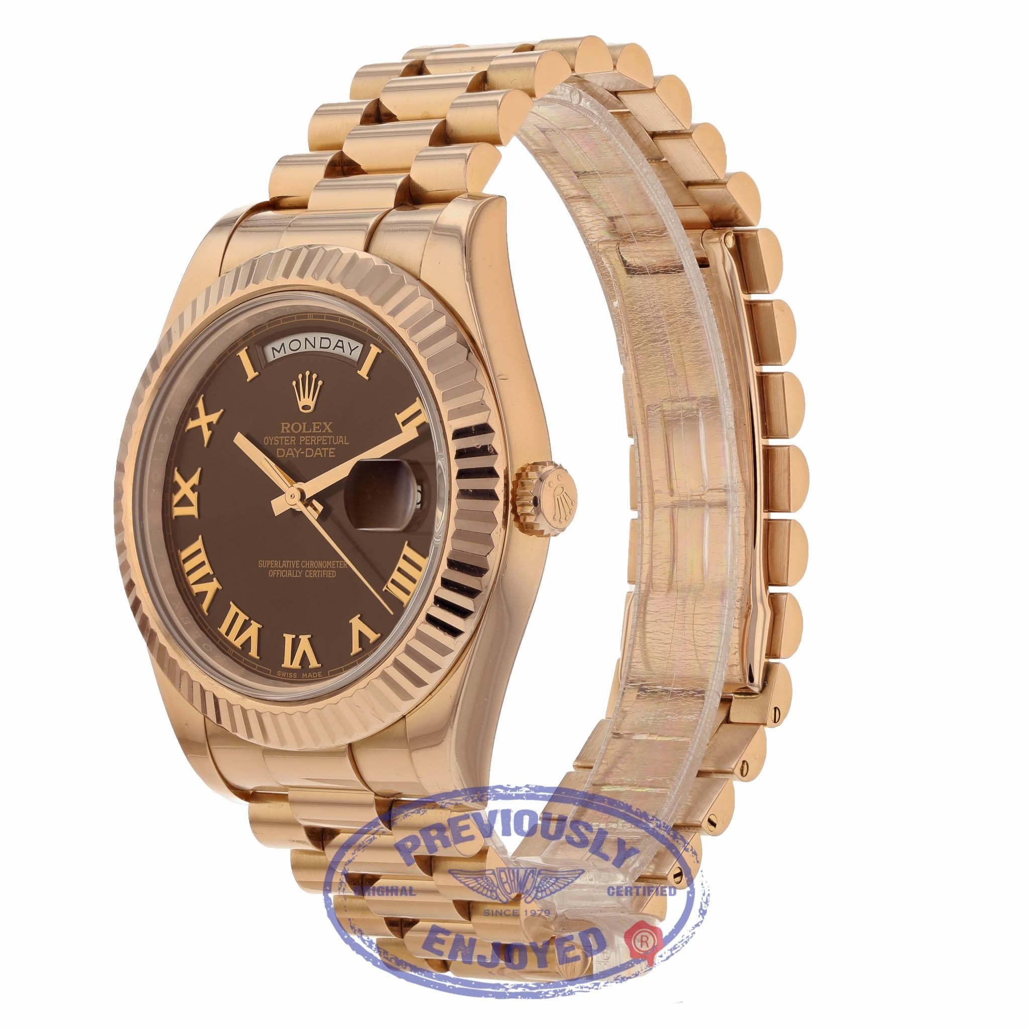 d24aafd5da4 Rolex Day Date II President 41mm Rose Gold Chocolate Roman Dial 218235  8WF562