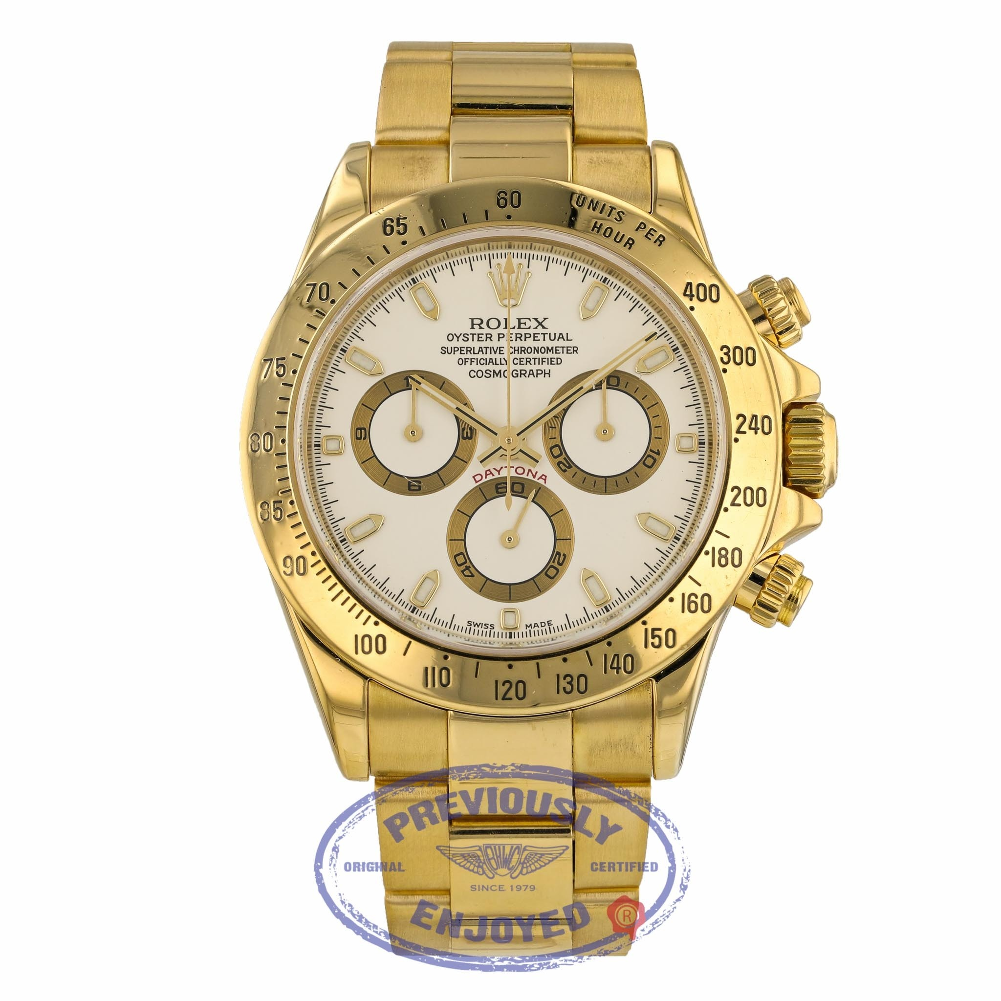 Rolex Daytona Cosmograph Yellow Gold White Index Dial Oyster Bracelet 116528 T22448 - Beverly Hills Watch Company
