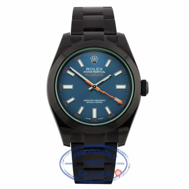 Rolex Milgauss 40mm DLC Blue Dial Stainless Steel 116400 TAN1R5 - Beverly Hills Watch Company