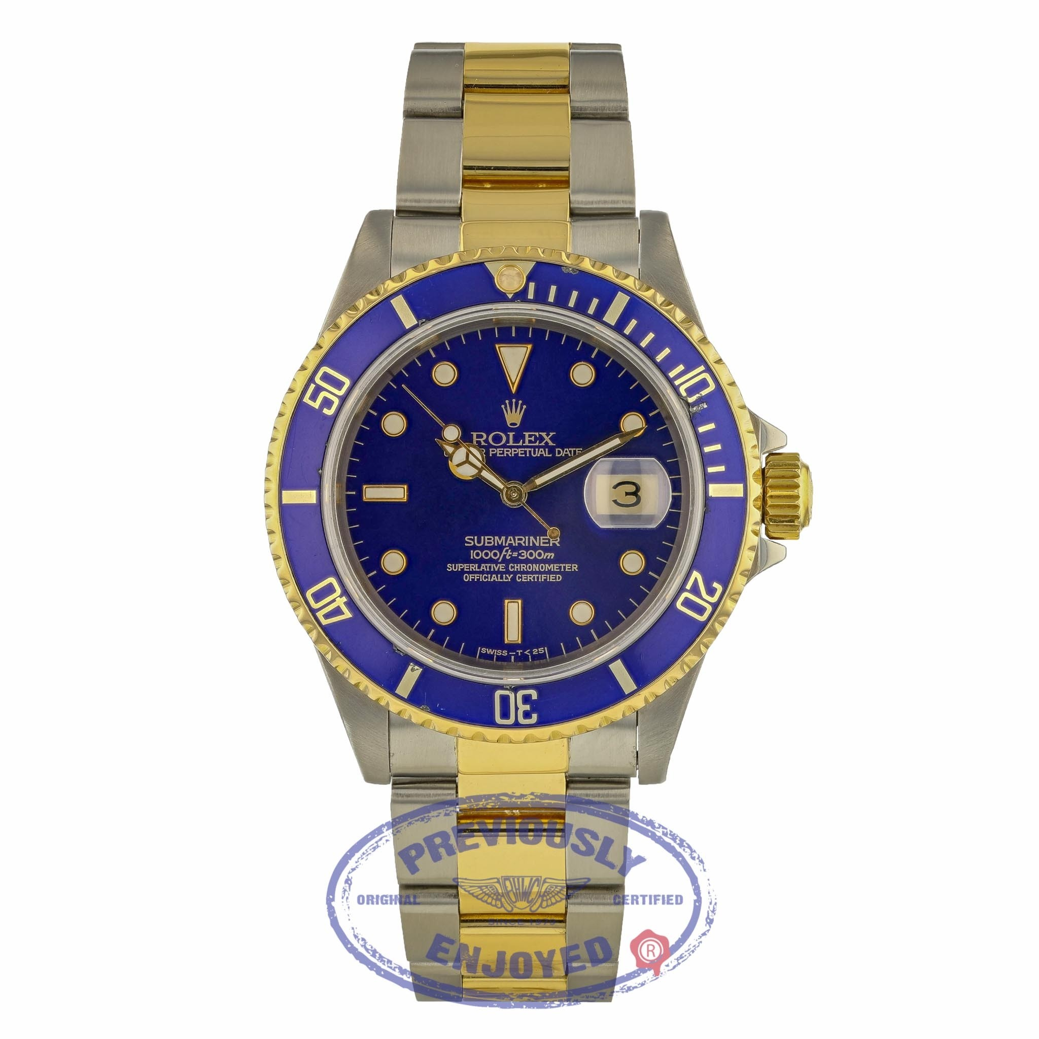 Rolex Classic Submariner 40mm Steel and Yellow Gold Blue Dial 16613 3A1NW9