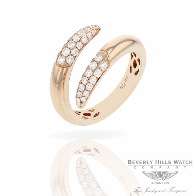 Naira & C 18k Rose Gold Crossover Diamonds Ring RD-R256-3286/R T2C3LT - Beverly Hills Jewelry Store