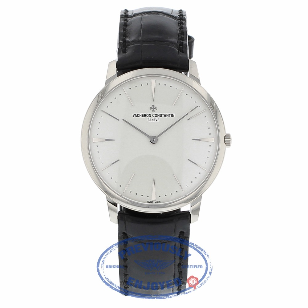 Vacheron Constantin Patrimony Grand Taille 40MM 18k White Gold Silver Dial Black Alligator Strap 81180/000G-9117 NMTJCR - Beverly Hills Watch Company