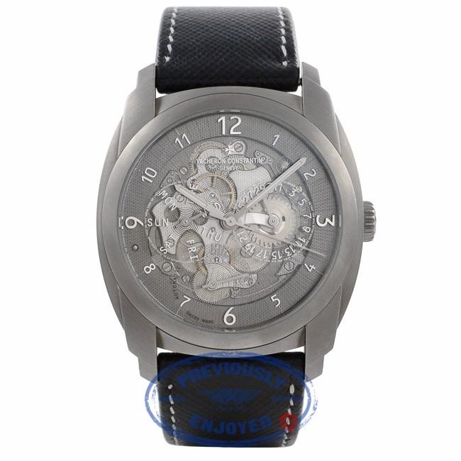 Vacheron Constantin Quai De L'lle Day Date Titanium Skeleton Dial Black Strap 85050/000T-9341 U2WD3Q - Beverly Hills Watch Company Watch Store