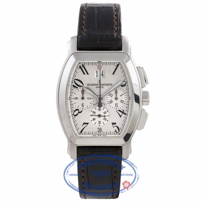 Vacheron Constantin Royal Eagle Chronograph Stainless Steel Off White Dial Black Leather Strap 49145/000A-8970 ER40KH - Beverly Hills Watch Company Watch Store