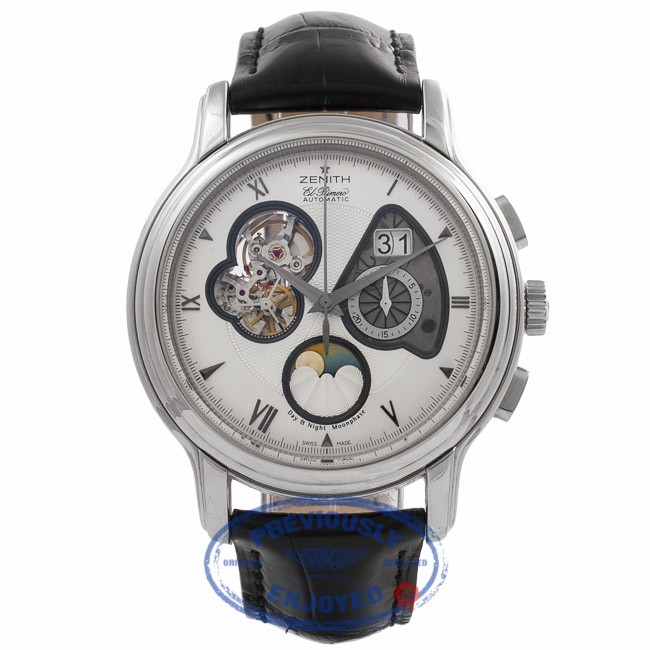 Zenith Chronomaster XXT Open Grande Date Moon & Sunphase 45MM Stainless Steel Silver Dial 03.1260.4047/02.C505 VYNJUL - Beverly Hills Watch Company Watch Store