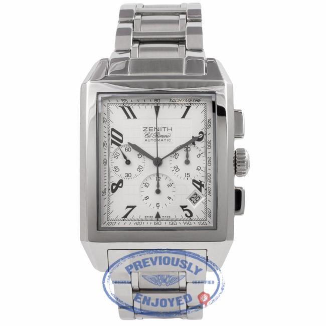 Zenith ElPrimero Rectangle Chronograph Stainless Steel 03.0550.400/02.C507 ACIN33 - Beverly Hills Watch Company Watch Store