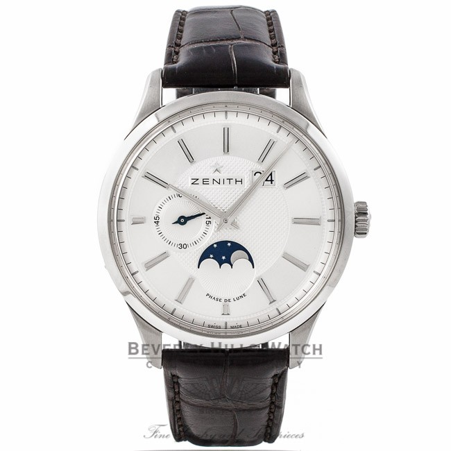 Zenith Captain Elite Moonphase Stainless Steel Silver Dial Alligator Strap 03.2140.691/02.C498 A5NGY3 - Beverly Hills Watch Company Watch Store